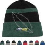Fine knit, two tone, tuque cap with cuff
