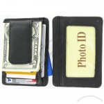 Fine Leather Hand Crafted Man's Mini Wallet ID Credit Card Holder with Magnetic Money Clip
