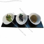 Fine Porcelain Appetizer Plate With Wooden Tray