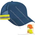 Five panel, 100% polyester reflective cap with self fabric sweatband