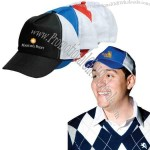 Five-panel non-woven/polyester cap with adjustable velcro strap.