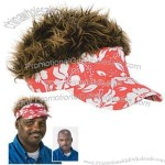 Flair Hair with Brown Hair and Red Hawaiian Floral Visor