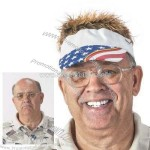 Flair Hair with Brown Hair and USA Design Visor