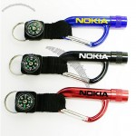 Flashlight Carabiner Key Chain With Compass