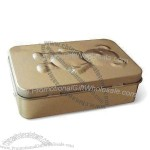 Flat Rectangular Tin Box with Hinged Lid