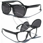 Flip Up Sunglasses Both Tinted Dark And Clear Lenses in Black Frame