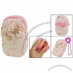 Flower Accent Wrist Wallet Purse Zip Bag Case Pink for Mobile Phone Mp3 Mp4