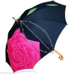 Flower Printed Straight Wooden Shaft Umbrella