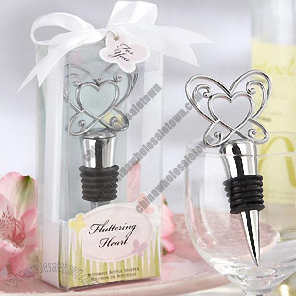 Fluttering Heart Butterfly Chrome Bottle Stopper Wedding Favors Printing Logo 698388211