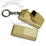 Fold out bamboo USB flash drive with key chain