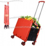 Foldable Portable Trolley with Universal Wheels - Collapsible Grocery Shopping Cart