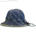 Frayed brim denim hat, brass eyelets decoration with cord.
