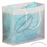 "Frosted Clear Plastic Euro Tote Shopping Bag - 4 Mil 12""x4""x10"""