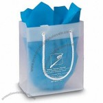 "Frosted Clear Plastic Euro Tote Shopping Bag - 4 Mil 6""x3""x7"""