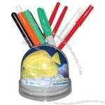 Full color snow globe pencil caddy.