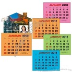 Full Color Stick Up, Colored Paper 2018 Calendar