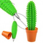 Funny Soft Silicone Cactus Shaped Ballpoint Pen with Pot