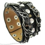 Genuine Leather Bracelet With Metal Chain And Crystals