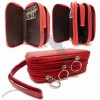 Genuine Leather Key Chain Holder Wallet, Cell Phone Wallet + 2 Middle Open Compartments - Red