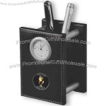 Genuine leather pencil cup clock.