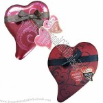 Gift box in heart-shaped design, with ribbon and hang-tag