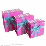 Gift Boxes with Satin Ribbon Knots and Glossy/Matte Lamination Surface Finish