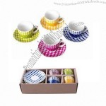 Gingham Decals Cup and Saucer