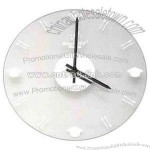 Glass clock with black hands