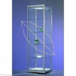 Glass Display Cabinet with Hinged Lockable Door and Four Adjustable Shelves