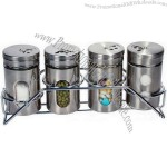 Glass Spice Jar with Stainless Steel Coating