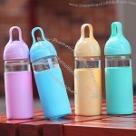 Glass Water Bottle with Plastic Hook
