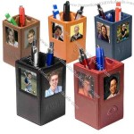 Glazed cowhide leather pencil cup / photo holder.