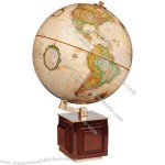Globe has a classic antique map & stand is combination of metal & solid hardwood
