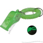 Glow in the dark wrist coil with pea whistle.