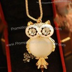 Gold Owl Necklace with Rhinestone Eye