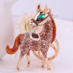 Gold-plated diamond Horse Keychain