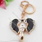 Gold-Plated Metal Alloy Elephant Keychains With Enamel And Rhinestone