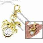 Gold Tone Horse Round Pendant Arabic Number Dial Key Ring Watch