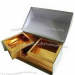Golden Paper Gift Candy Boxes with Drawers