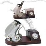 Golf Bag Shaped Cart Pen Stand With Clock and Name Card Holder