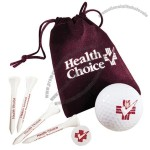Golf Items In Velour Bag W/ Tees & Marker