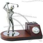Golfer Name Card Holder With Clock