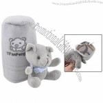 Gray Bear Decor Drawstring Closure Shift Knob Cover for Car