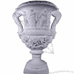 Grecian Ornate Double Handle Urn Plaster Vase