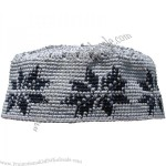 Grey Hannd-crocheted Cotton Islamic Kufi Hat Cap w/ Black Design Muslim Kofiya