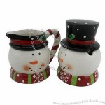 Hand Paint Ceramic 3D Snowman Sugar and Creamer Set