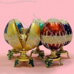 Handicraft Metal Jewelry Box Easter Egg with Diamond