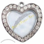 Heart Shape Photo Insertable Blank Pet ID Tag with Man-made Diamonds