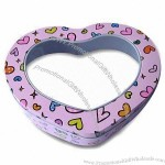 Heart-shaped Gift Tin, Made of Printed Tinplate, with Clear PVC Window
