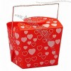 Hearts on Red Takeout Box